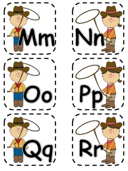 Alphabet Matching Cards ~ Roping the Alphabet (Western Kids)