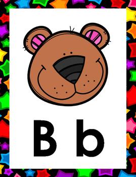 Alphabet Cards Stars on Black Theme