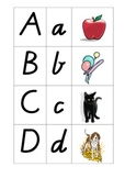 Alphabet Cards Upper Case/Lower Case/Picture in Victorian Modern Cursive