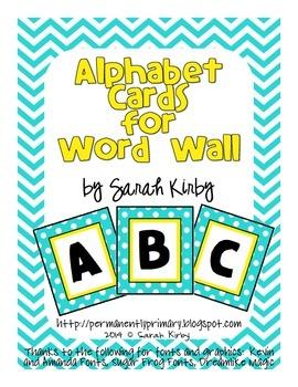 Alphabet Cards - Yellow and Aqua