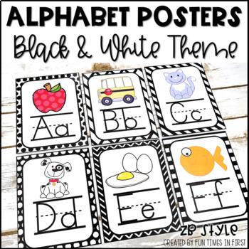 Alphabet Cards (Zaner-Bloser)  Black and White Geometric Pattern Theme