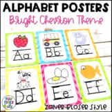 Alphabet Posters |  Bright Chevron Theme | Zaner-Bloser style