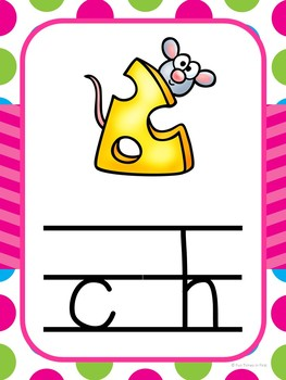 Alphabet Cards (Zaner-Bloser) Bright Polka Dot and Chevron Theme