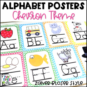 Alphabet Cards (Zaner-Bloser)  Chevron Theme