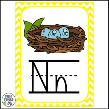 Alphabet Posters Chevron Theme | Zaner-Bloser Style