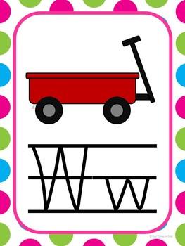 Alphabet Cards (Zaner-Bloser) Mulit-Polka Dot Theme