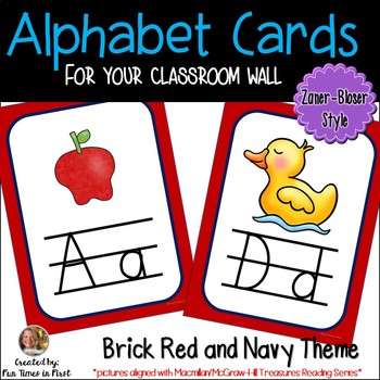 Alphabet Posters (Zaner-Bloser style)  Red and Navy Theme