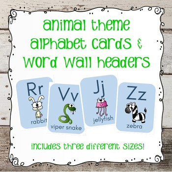 Alphabet Cards and Word Wall Headers - Animal Theme