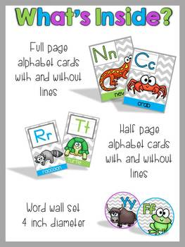 Alphabet Cards and Word Wall Set {Chevron & Brights}