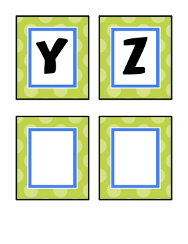Alphabet Cards for Word Wall - Blue and Green