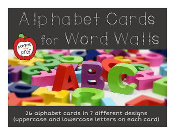 Alphabet Cards for Word Wall (uppercase and lowercase letters)