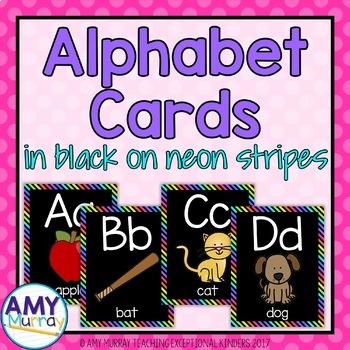 Alphabet Cards in Black on Neon