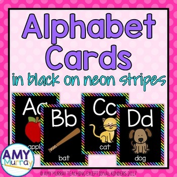 Alphabet Cards in Black on Neon