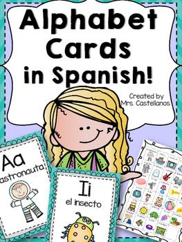 Alphabet Cards in Spanish-Turqouise Chevron