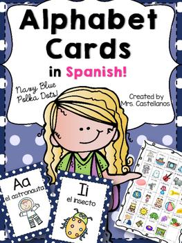 Alphabet Cards in Spanish-Navy Polka Dots