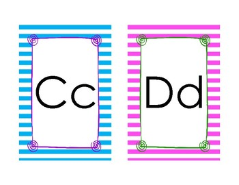 Alphabet Cards, pink and blue