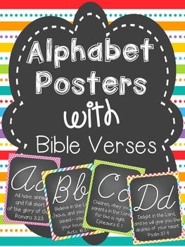 Alphabet Cards with Bible Verses (Cursive Font)