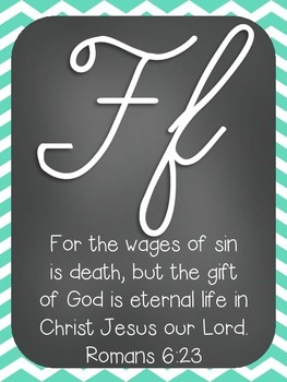 Alphabet Cards with Bible Verses (Cursive Font