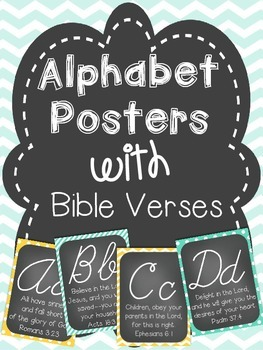 Alphabet Cards with Bible Verses (Cursive Font