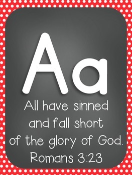 Alphabet Cards with Bible Verses (Polka Dot and Primary Font)