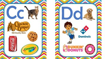 Alphabet  Wall Cards with Environmental Print and Favorite Characters!