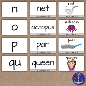 Alphabet Cards with Letter, Word & Clip Art- Multisensory Sound Cards