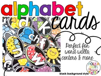 Alphabet Cards with Long Vowels and Digraphs (Black Background Style)