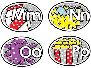 Alphabet Cards with Long Vowels and Digraphs (Gray Polka Dots Style)
