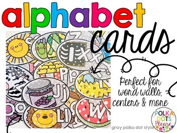Alphabet Cards with Long Vowels and Digraphs (Gray Polka D