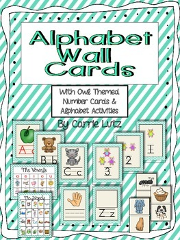 Alphabet Cards with Owl Themed Number Cards and Alphabet A