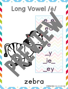 Alphabet Cards with Sounds Spellings (Colorful Chevron)