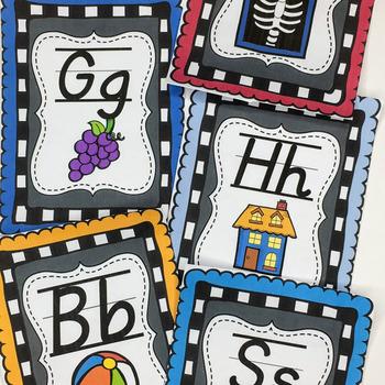 Alphabet Cards(D'Nealian) Chalkboard Theme