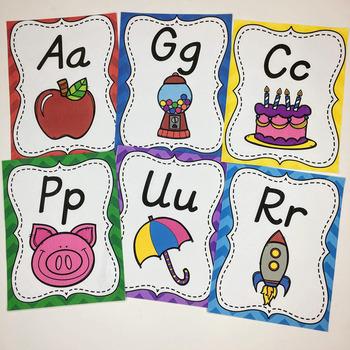 Alphabet Posters (D'Nealian) Chevron