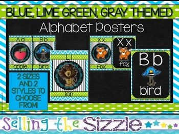 Alphabet Cards/Posters- Blue, Green, Gray themed