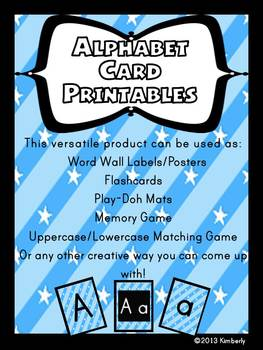 Alphabet Cards/Posters/Games:Uppercase/Lowercase Printables