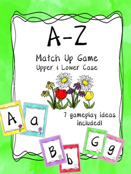 Alphabet Case Matching Card Game or Classroom Banner - Spring Theme