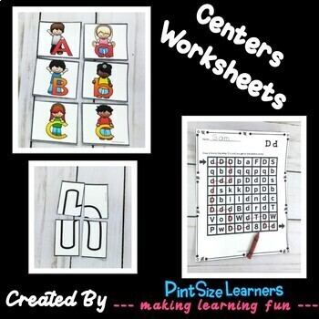 Alphabet Center Ideas and Worksheets
