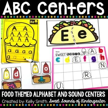 Alphabet Centers Food Themed {Alphabet Matching and Beginning Sound Practice}