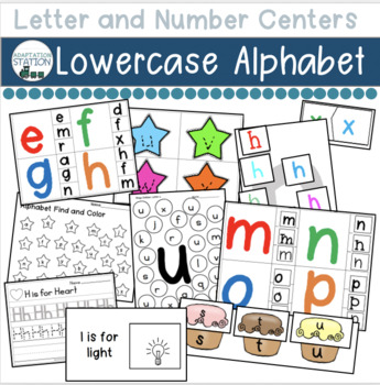 Alphabet Centers for Early Childhood or Special Education (Lowercase)