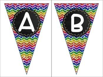 Alphabet Chalkboard Chevron Letters A-Z Pennant Banners Word Wall Labels Glitter