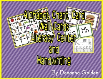 Alphabet Chant Card, Wall Cards, Literacy Center and Handwriting