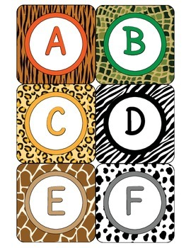 Alphabet Character Squares - Animal Print - ZisforZebra - Editable!