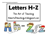 Alphabet Characters: Letters H-Z