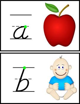 Alphabet Chart & ABC Tracing Cards (D'nealian Font)