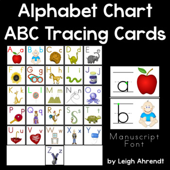 Alphabet Chart  Abc Tracing Cards Manuscript Font By Leigh Ahrendt