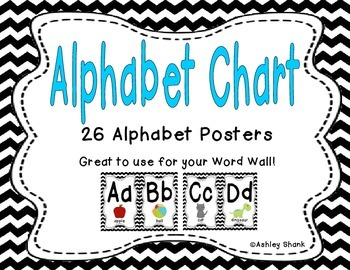 Alphabet Chart - Black Chevron