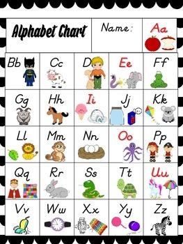 Alphabet Chart Bright Colors Chevron Glitter Superheroes