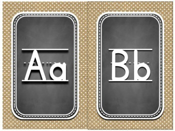 Alphabet Chart ~ Burlap and Chalkboard Background