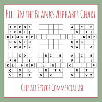 Alphabet Chart Fill in the Blanks Clip Art Set for Commercial Use