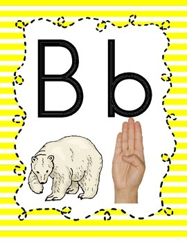 Alphabet Chart Letters & Signs (NG Cengage Version) {Yellow Doodle Bee Design}